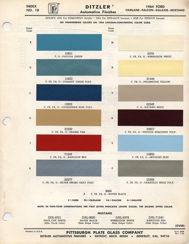 1965-1966 Ford Mustang Color -- Dupont / Imron / PPG ...