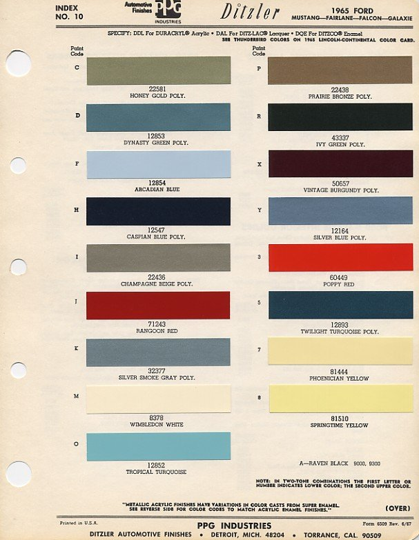 Grey Car Paint Chart >> 1965-1966 Ford Mustang Color -- Dupont / Imron / PPG numbers? - Ford Mustang Forum