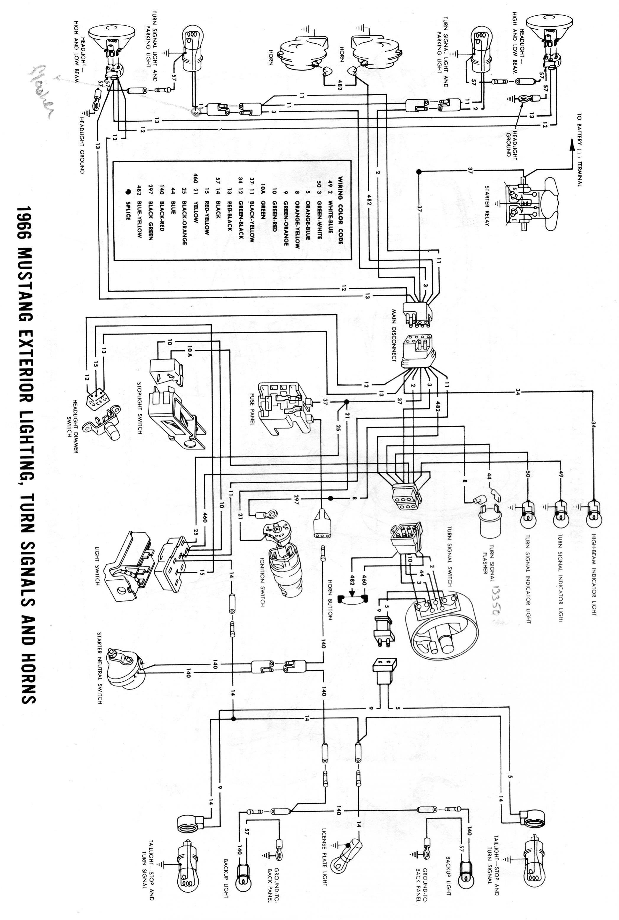 1966 MustangEmergency flashers come on with turn indicator Ford – Exterior Lights Wiring Diagram 1996 Ford