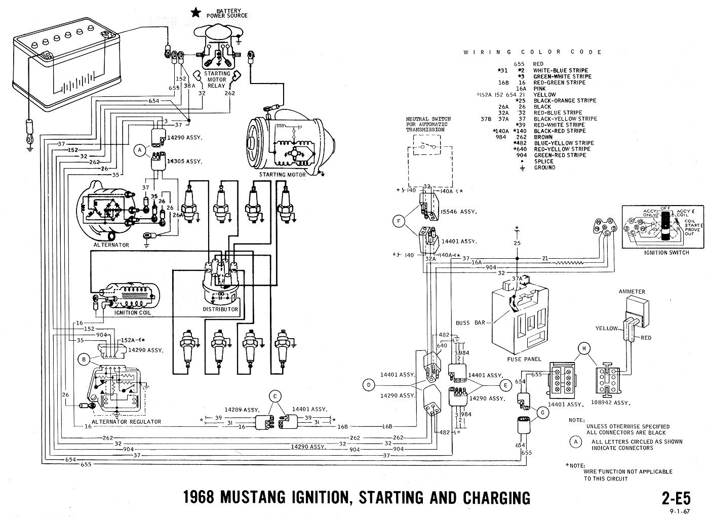 1968 mustang starter solenoid wiring diagram wiring new starter, single wire alternator, solenoid - '73 ... #1