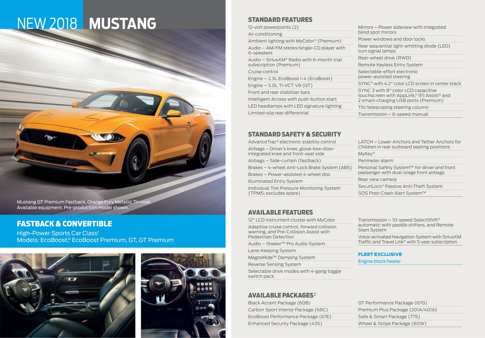 2018 Ford Mustang Standard Features Revealed in Leaked Brochure