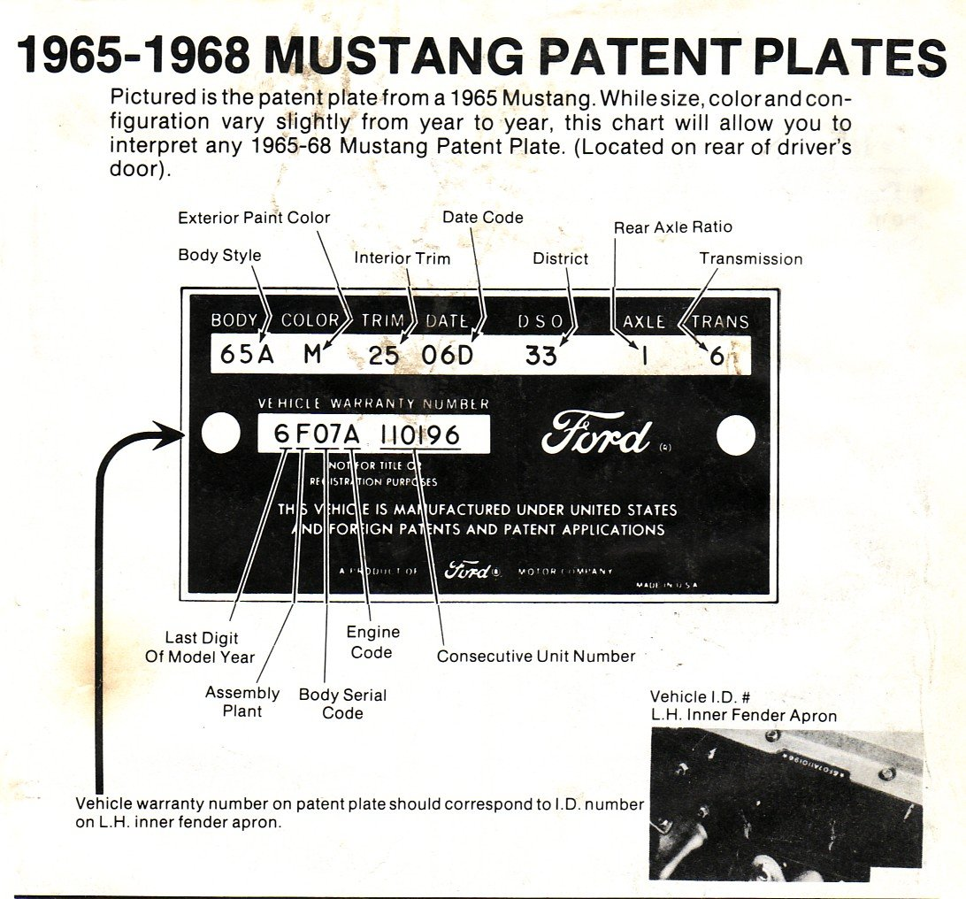 1964 12 interior color ford mustang forum click image for larger version name 65 68 patent plateg views nvjuhfo Choice Image