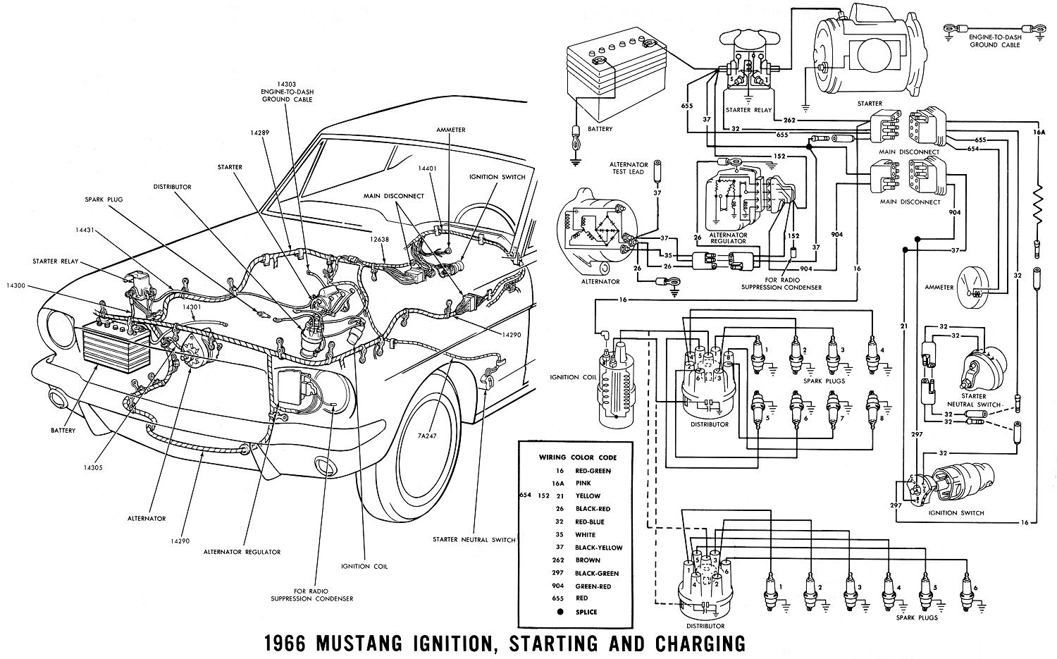 65 gt: ammeter pegged, and mystery white/black wire - ford mustang, Wiring diagram