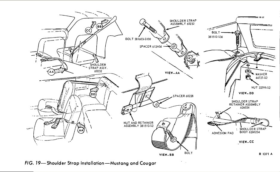 3 point seat belt installation 1965 mustang convertible