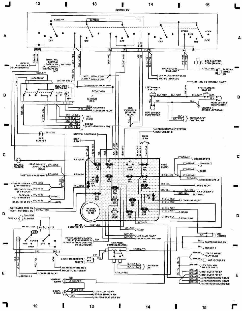 for fox mustang instrument cluster wiring diagram