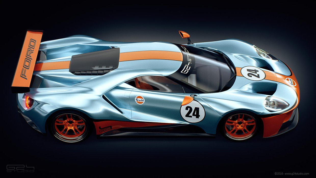 Throwback Thursday Ford Gt Rendered In Classic Gulf Livery Allfordmustangs