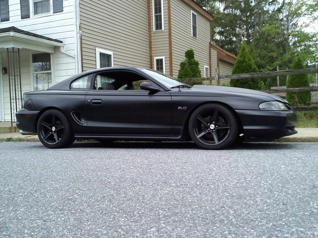 pictures of matte black sn197 ford mustang forum. Black Bedroom Furniture Sets. Home Design Ideas