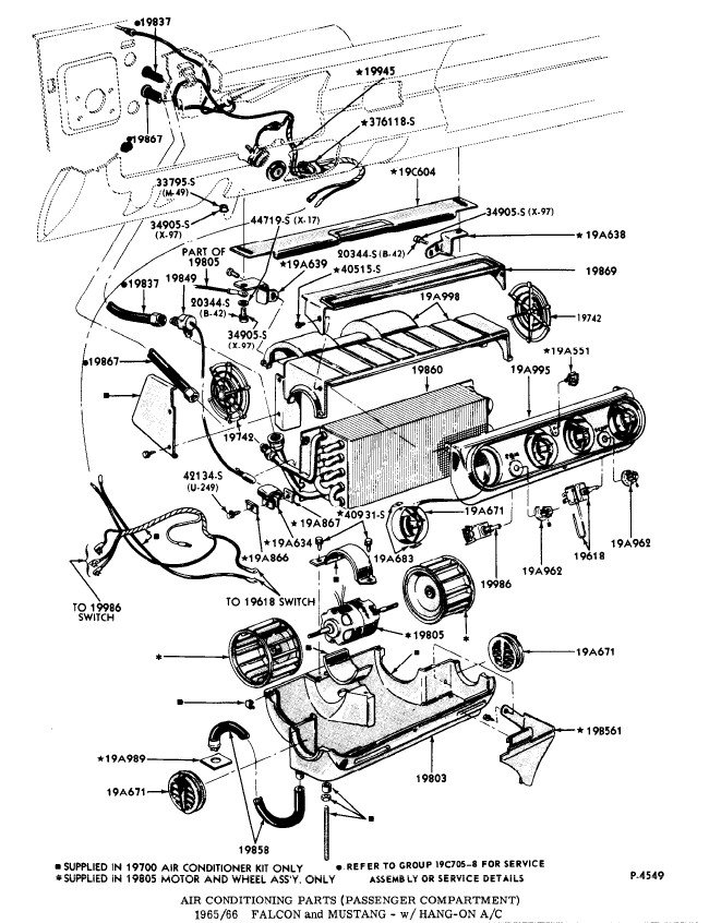 39 66 under dash ac assembly diagram ford mustang forum. Black Bedroom Furniture Sets. Home Design Ideas