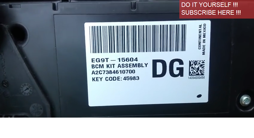 Keyless Entry Code Location