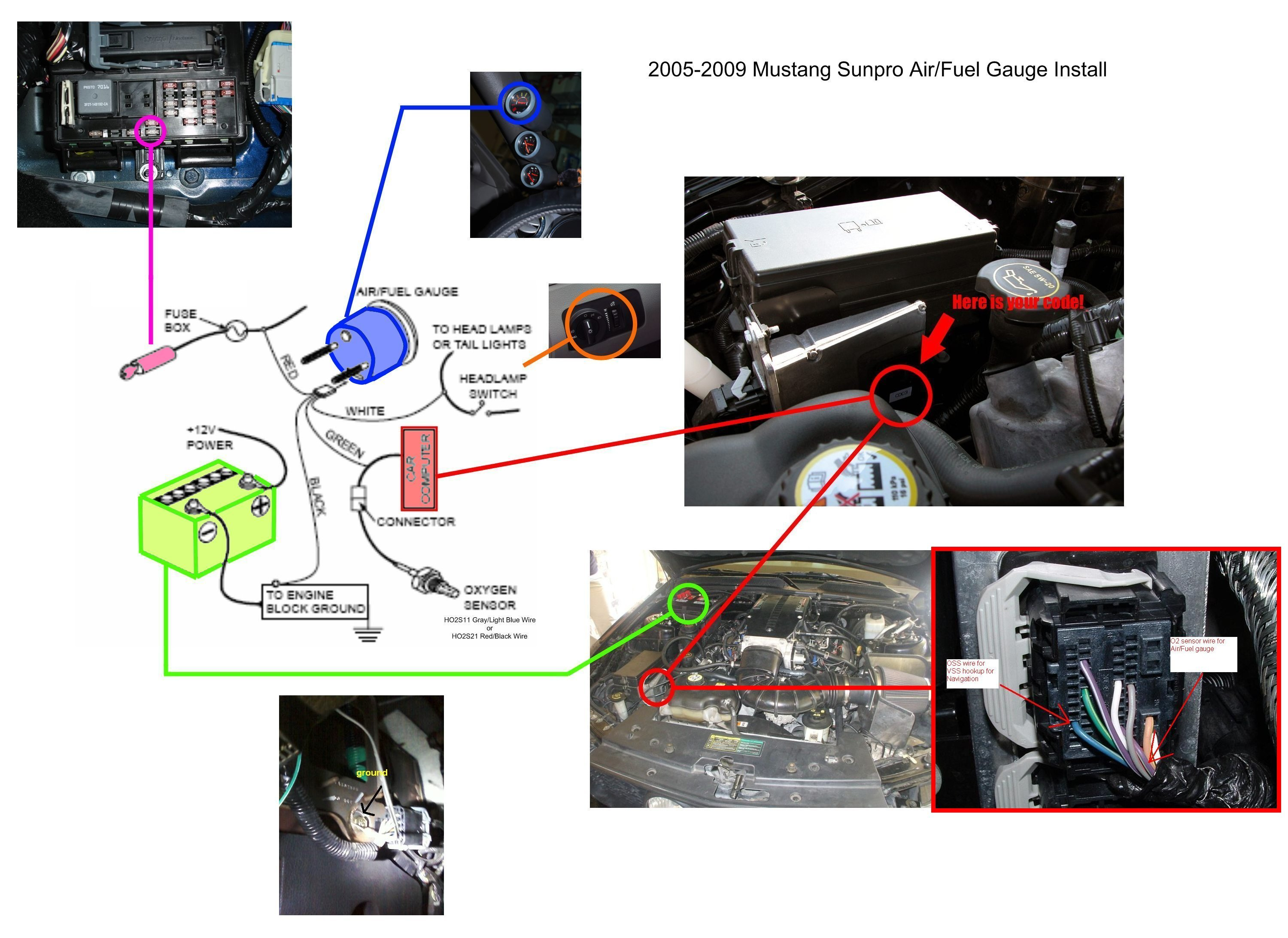 81950d1256410881 gauge install tech air fuel gauge gauge install tech ford mustang forum sunpro fuel gauge wiring diagram at bakdesigns.co