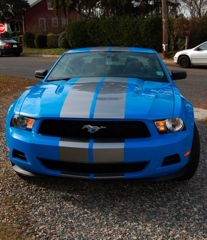 Black Mustang Silvers: Grabber Blue With Silver Stripes?