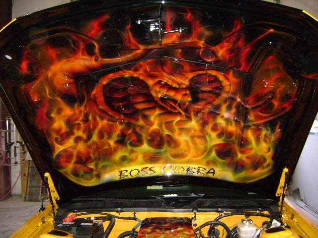 What Is A Muffler Delete >> Airbrushed Flames underhood pics! 2007 Mustang GT - Ford Mustang Forum