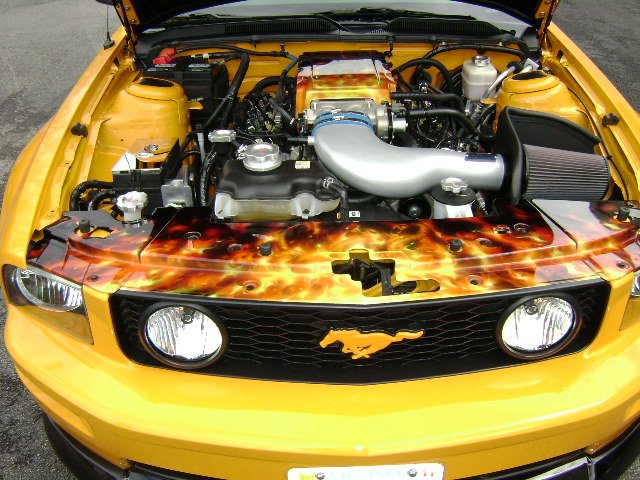 Airbrushed Flames Underhood Pics 2007 Mustang Gt Ford