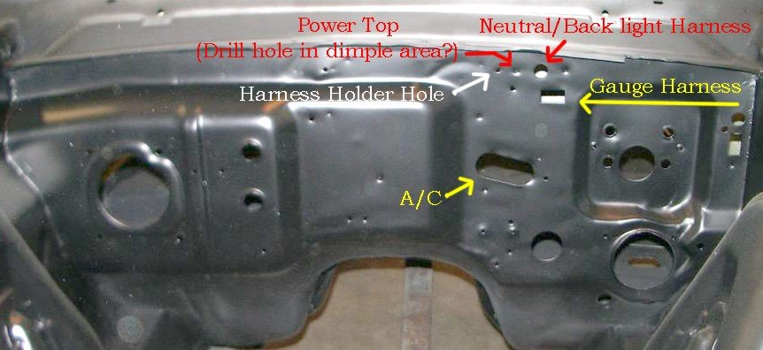 1966 mustang firewall wiring  grommets locations