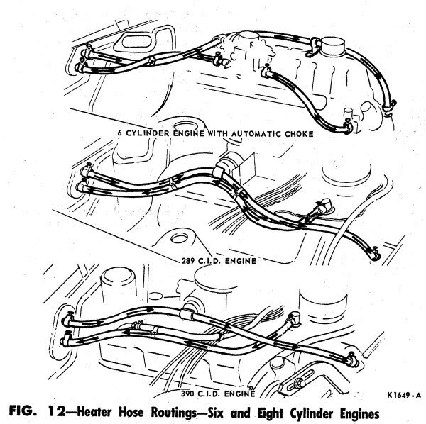 1965 mustang heater hose connection