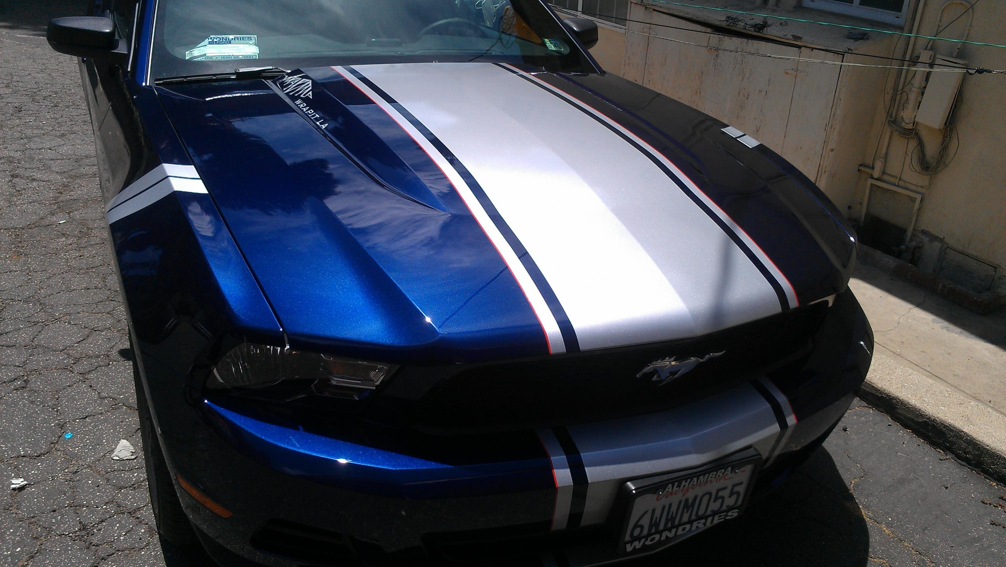 Silver Super Snake And Fender Hash Stripes On Kona Blue