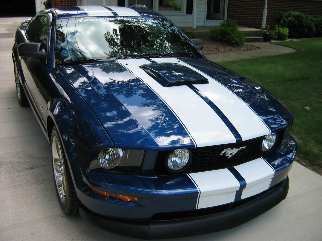 2005 Ford Mustang Coupe >> Pictures of Vista Blue with racing stripes, anyone? - Ford ...