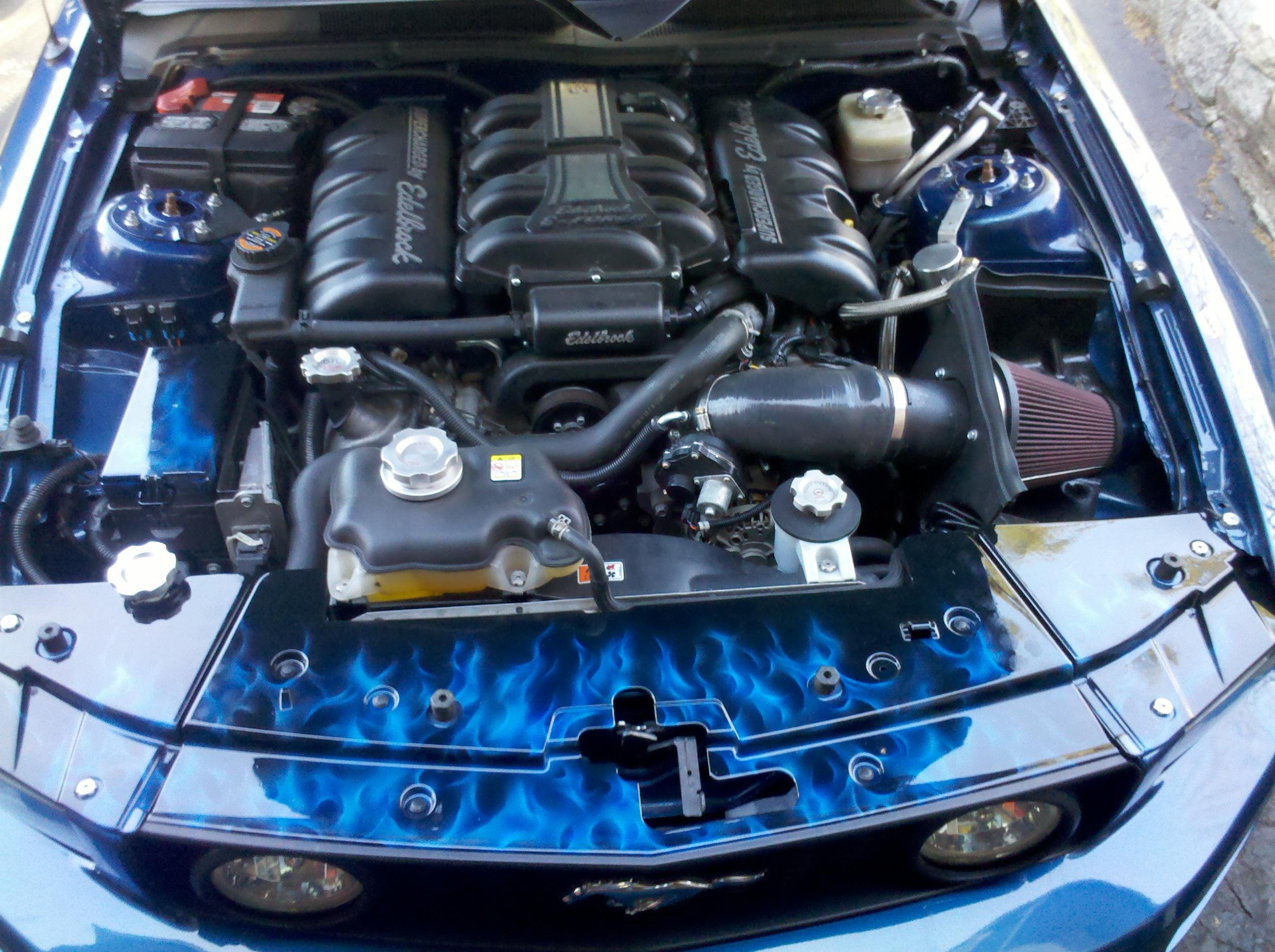 Airbrushed Flames Underhood Pics  2007 Mustang Gt