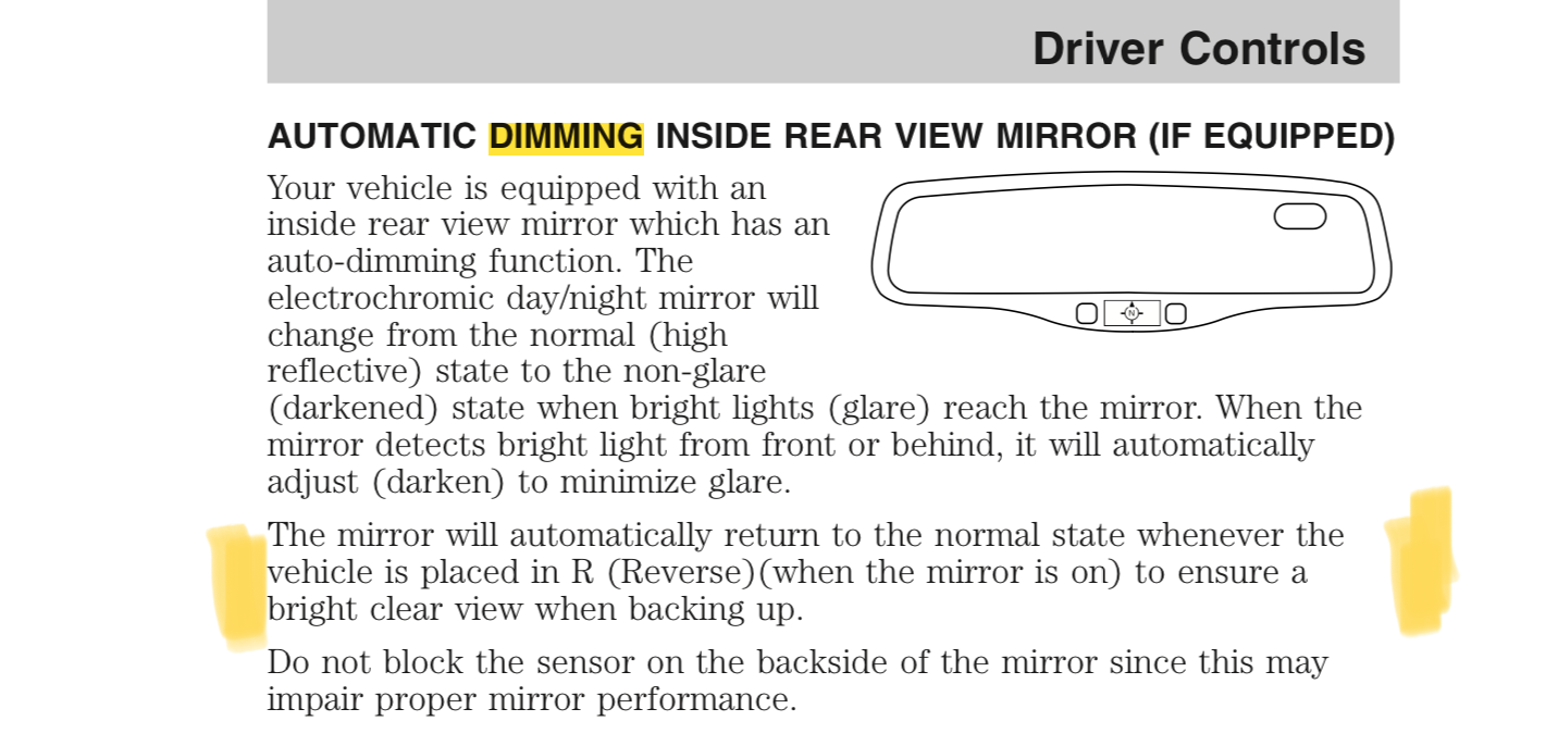 Automatic Dimming Inside Rear View Mirror Installation