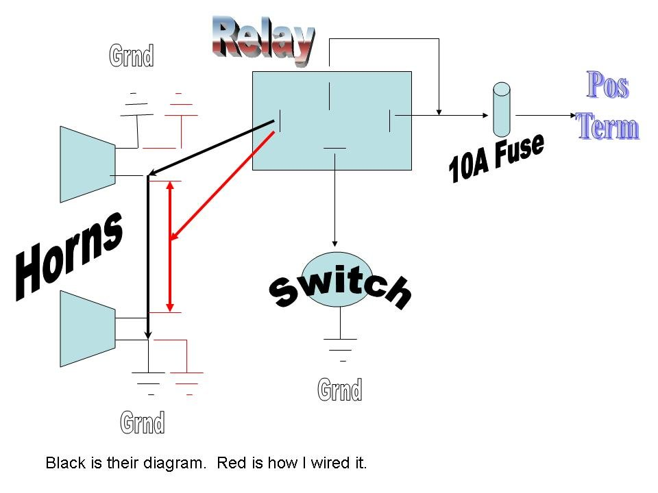 Horn Wiring Diagram With Relay : Coupe aftermarket horn install using existing wiring