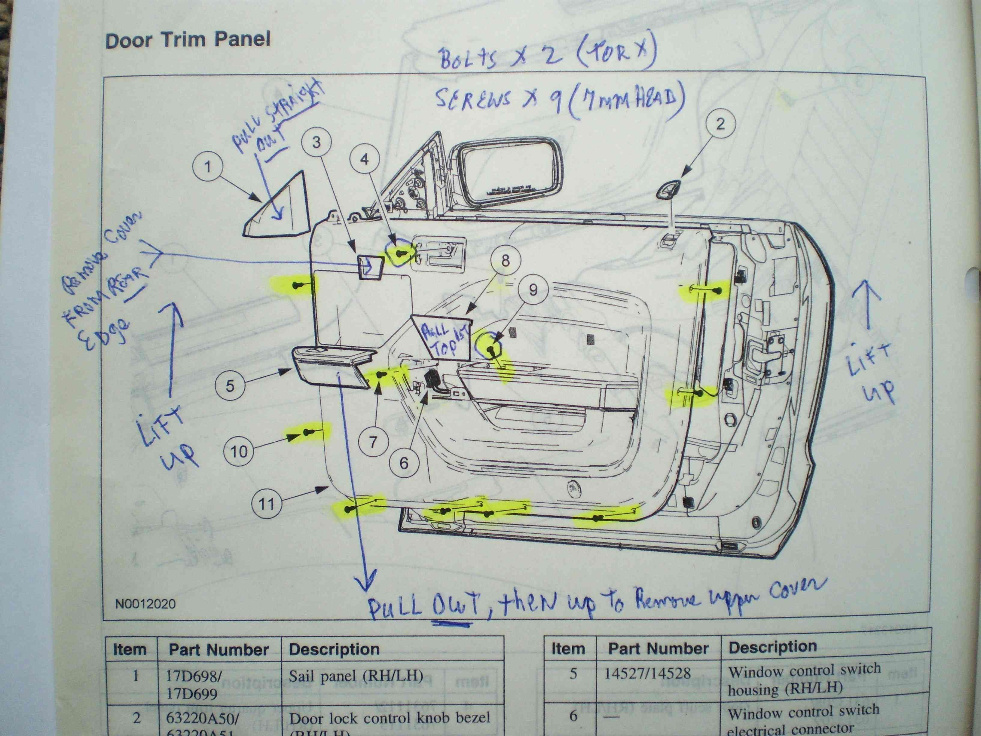 Passenger Side Door Schematic Ford Mustang Forum