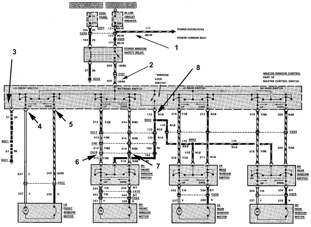 1989 ford mustang stereo wiring diagram 1989 mustang convertible, power windows not working ...