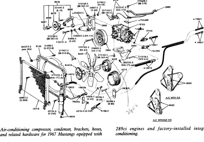1967 mustang 289 alternator  ps  ac belt layout