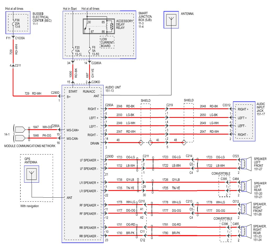 radio wiring diagram for 2008 v6 ford mustang forum click image for larger version radio schematic a jpg views 58190 size 381 0