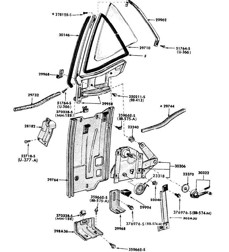 68 Ford Mustang Quarter Window Regulator Left