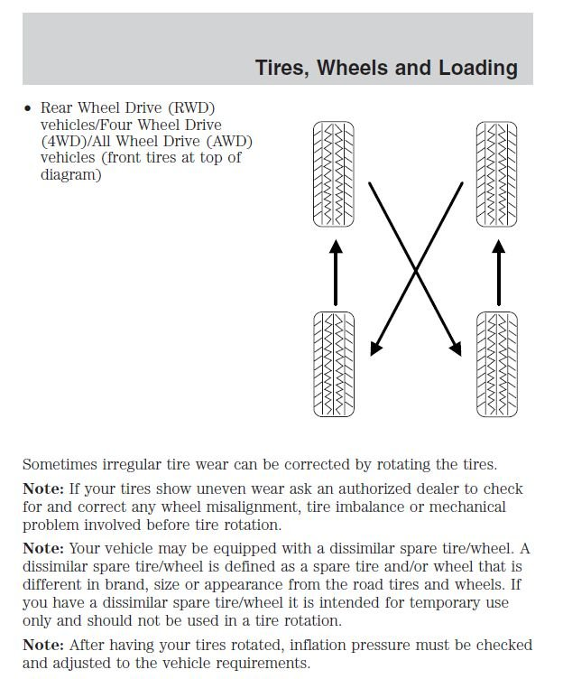 tire rotation criss cross    front ford