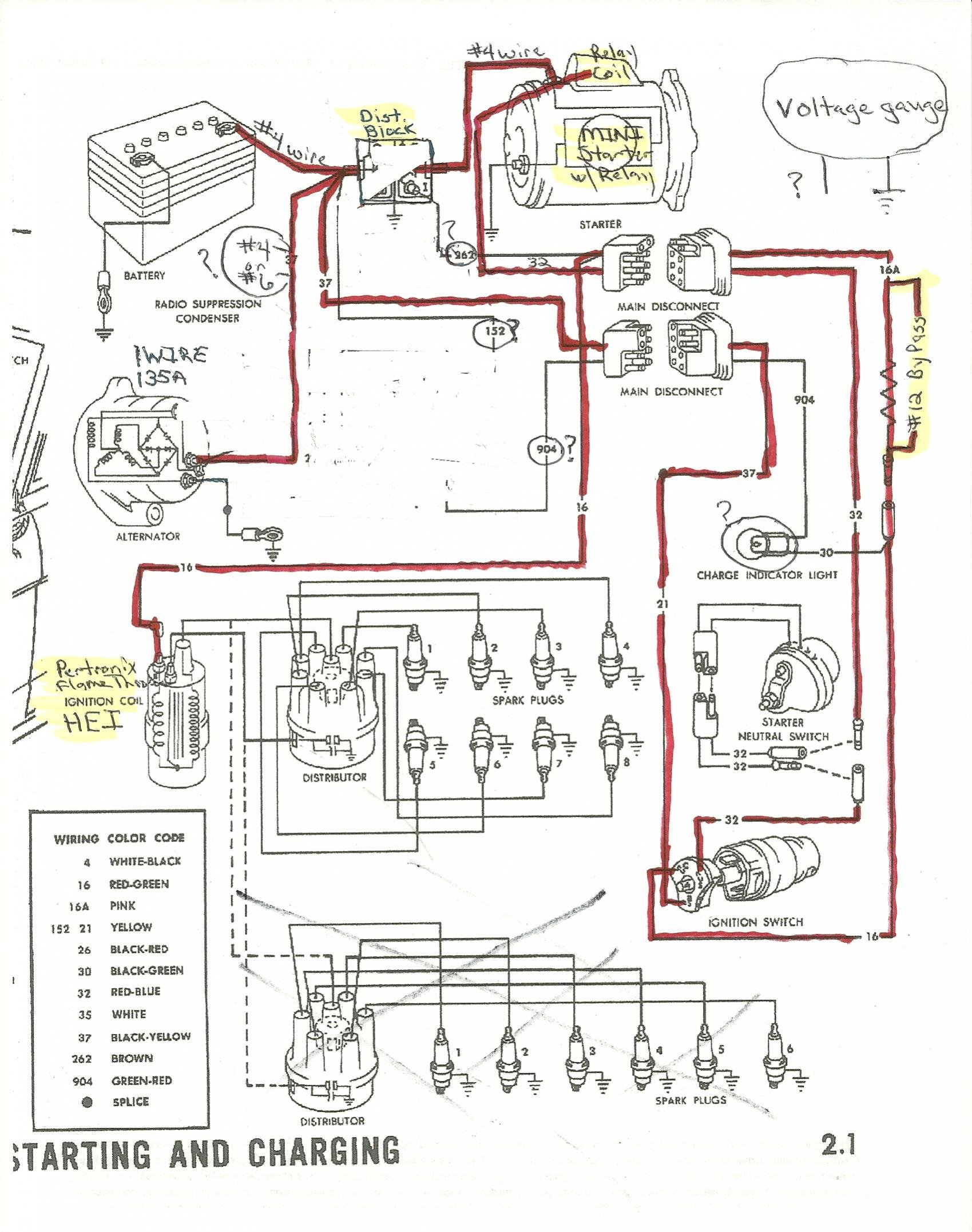 Engine Wiring Diagram 1965 Library Ford Diesel Starter Alternator And Distributor Mustang Forum Dodge Voltage Regulator