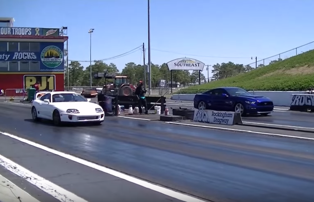 Watch this 5.0 S550 Take a Twin-Turbo Supra in the Quarter Mile