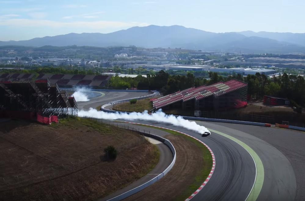 Watch This Mustang Drift 3,200 Feet on the Formula 1 Circuit de Barcelona-Catalunya