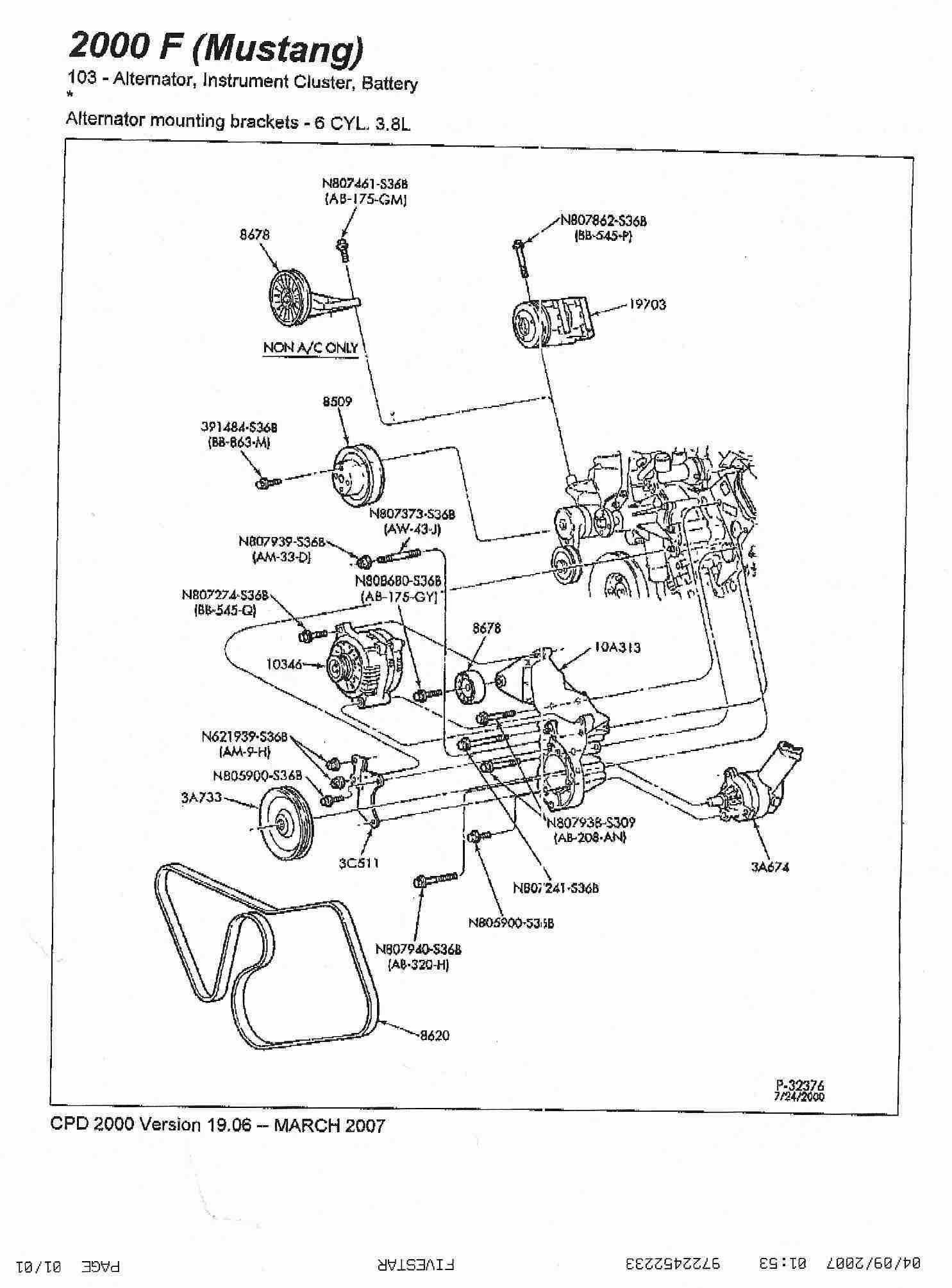 438650 C Delete Belt Route 99 04 3 8 A on 2000 Ford Mustang 3 8 Serpentine Belt Diagram