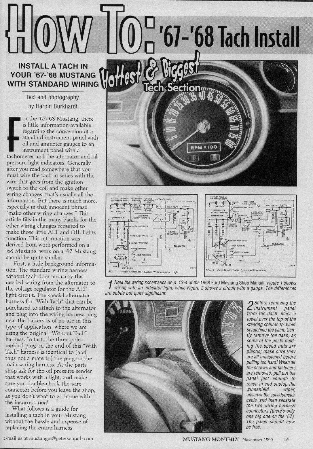 1968 mustang tach wiring diagram how to 1967 1968 mustang tach install  november 1999  mustang  how to 1967 1968 mustang tach install
