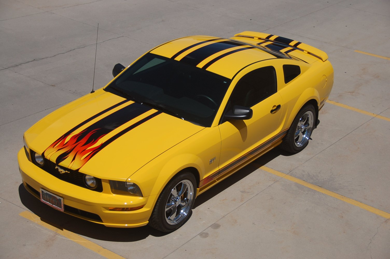 Black Stripes On Screaming Yellow With Flames Ford
