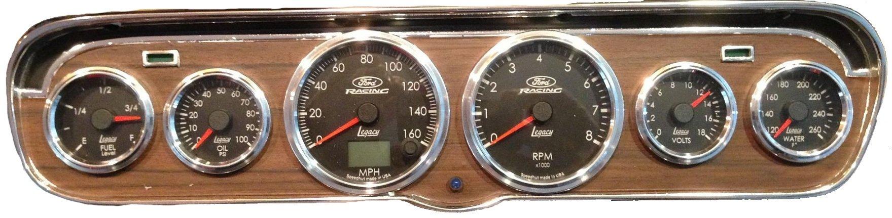 1965-1966 Ford Mustang Instrument Gauge Bezel with Gauge Option Woodgrain