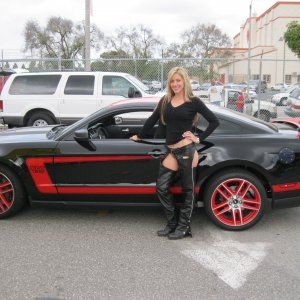 Harley 'Momma posing for my son, my wicked 'Stang and me