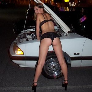 Hot Mustang Babe Under the hood