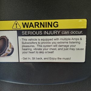 Sun Visors Warning decals.