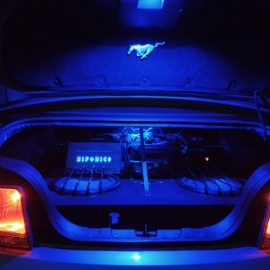 2006 Mustang GT stereo amplifiers and subwoofers - Trunk mounted.