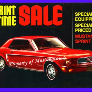 1968 Ford Mustang Sprint large Postcard FoMoCo NOS