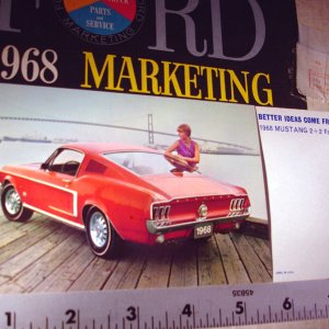 1968 Ford Mustang Red 2+2 Postcard San Francisco Bay FoMoCo NOS